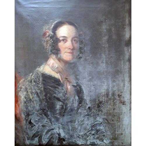 44 - 19th century school, mid length portrait depicting a lady, oil on canvas, 62cm x 75cm, acanthus moul...