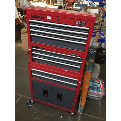 2 - American Pro Ball Bearing Sealley multidrawer tool chest cabinet with contents...