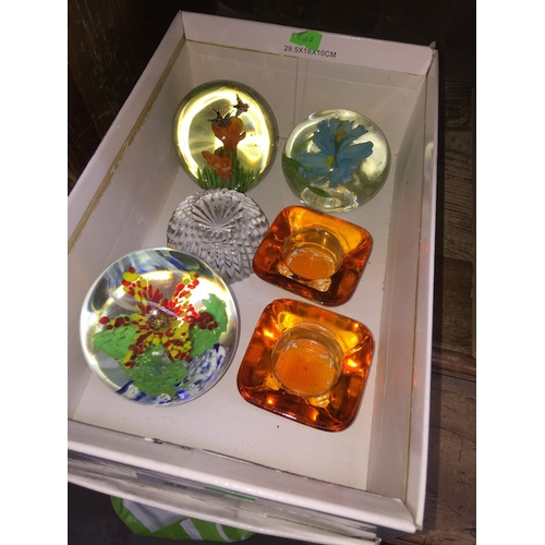 25 - 4 paperweights and 2 candle holders...