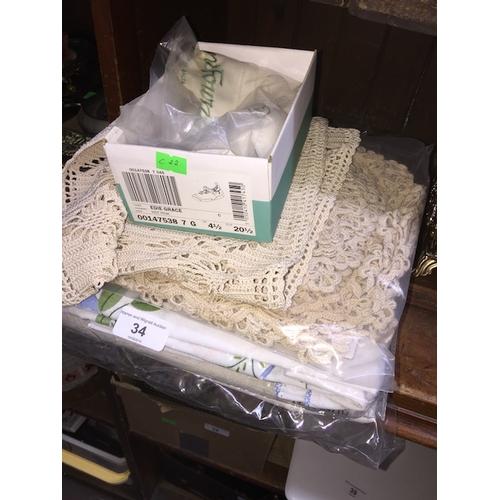 34 - Quantity of linen, crochetware, etc...