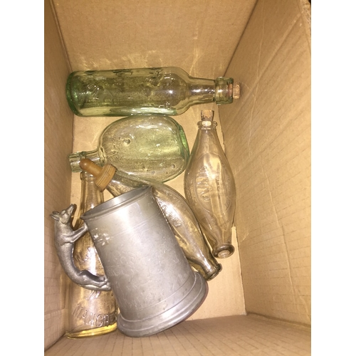 40 - 5 old glass bottles and a pewter tankard...