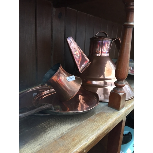 5 - A copper tea / coffee pot, a small copper coffee jug and pair of copper and brass pancake trays...