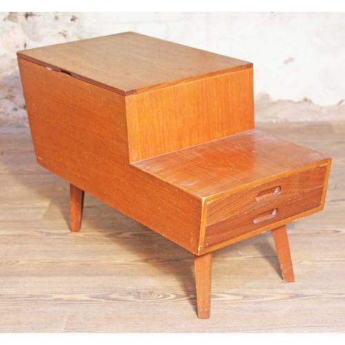 14 - A Vanson teak sewing box with lift top , two drawers and square tapered legs, length 74cm, depth 34c...