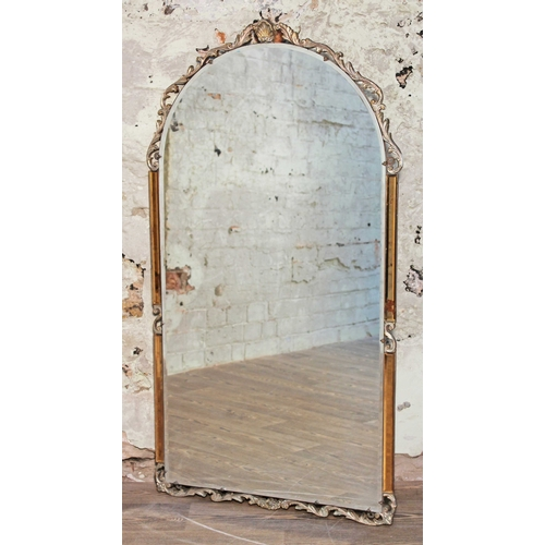 21 - An Art Deco mirror with moulded mounts and amber glass sides, width 69cm & height 125cm....