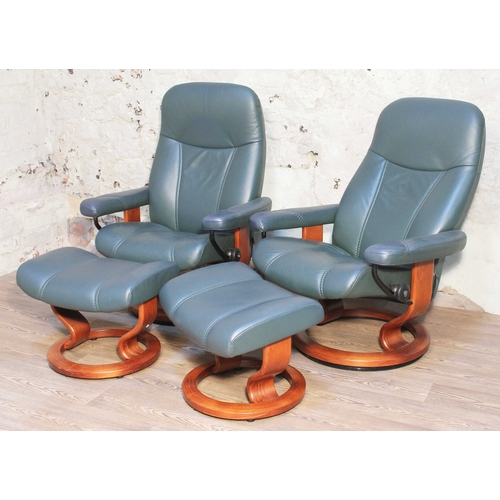 4 - A pair of Norwegian Ekornes Stressless Consul leather and bent wood reclining armchairs with matchin...