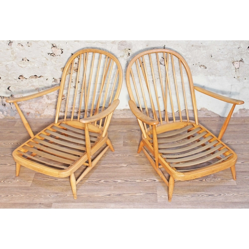 6 - A pair of Ercol Blonde elm and beech Windsor armchairs....