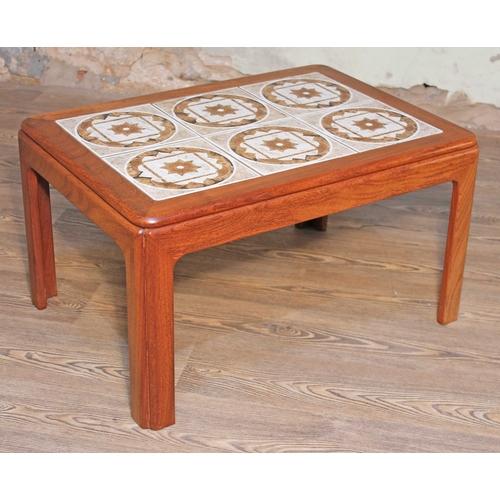 7 - A G-Plan teak and tile top coffee table, length 72cm, depth 51.5cm & height 40cm....