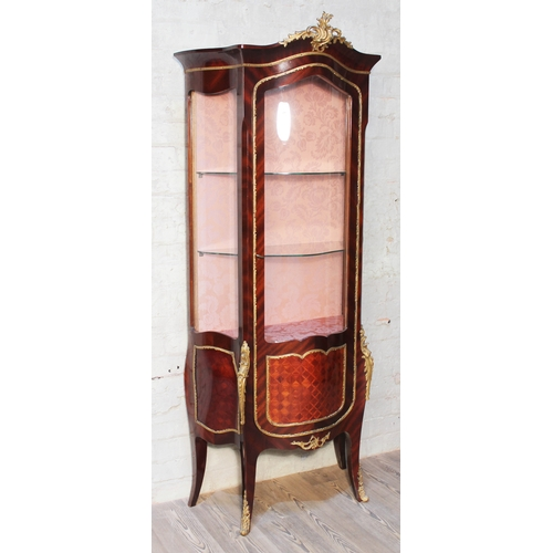 43 - A French gilt metal mounted display cabinet, width 75cm, depth 37cm & height 174cm....