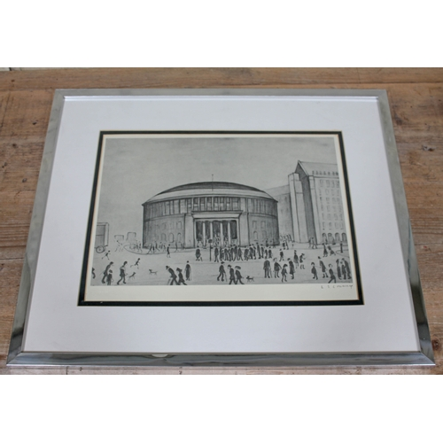 60 - Lawrence Stephen Lowry, The Reference Library, monochrome print, 35cm x 24cm, blindstamp lower left,...