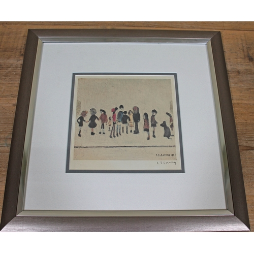 61 - Lawrence Stephen Lowry, Group of Children, colour print, 19cm x 18cm, blindstamp lower left, signed ...