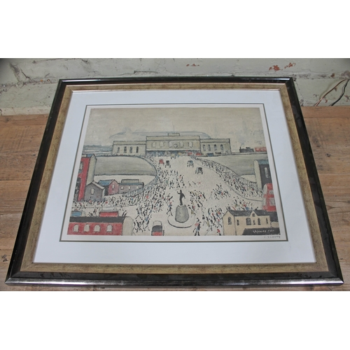 62 - Lawrence Stephen Lowry, Station Approach, colour print, 51cm x 40cm, blindstamp lower left, signed i...