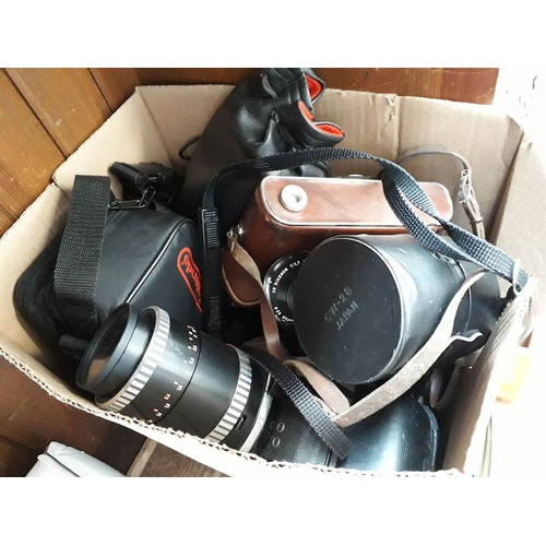 15 - A box of cameras, to include Ricoh, Pentax, Zenit, etc...