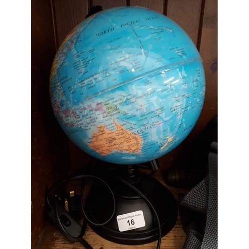 16 - An illuminated globe...