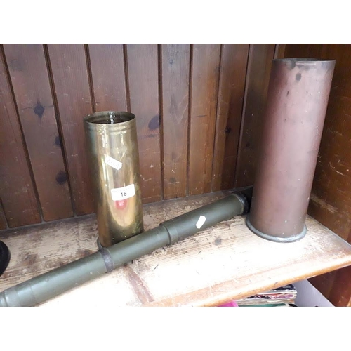 18 - Pair of WW2 shell cases and a gunsight...