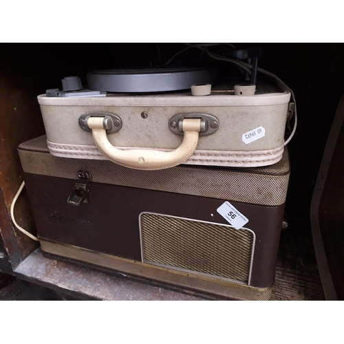 56 - A vintage record player and a reel to reel tape player...