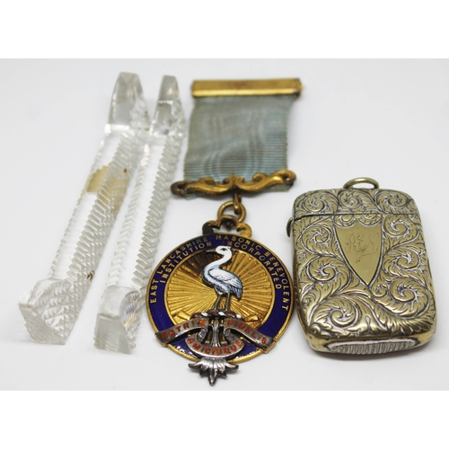 304 - A mixed lot comprising a Masonic gilt metal, a pair of cut glass knife rests and a Victorian silver ...