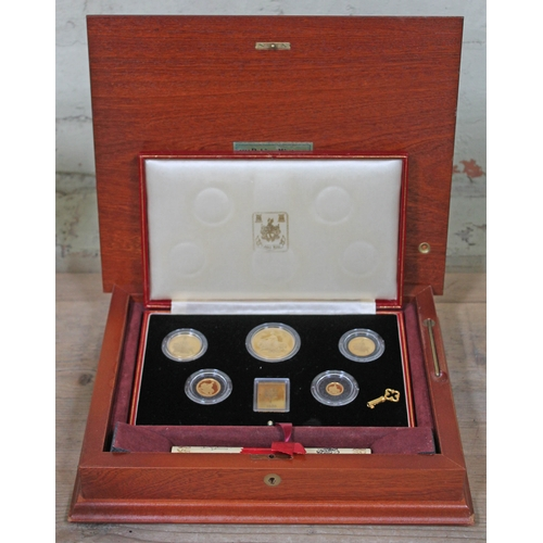 305 - Elizabeth II Gibraltar Coinage 1839-1989 Una and the Lion Commemorative Sovereign Set comprising fiv...
