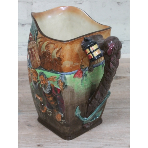 356 - A Royal Doulton 'The Drake Jug', impressed signatures 'Noke' and 'Fenton', height 27cm....
