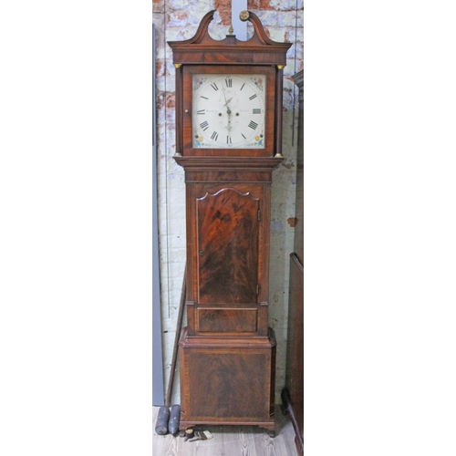 46 - A Georgian mahogany eight day long case clock, hood with swan neck pedestal and fluted pillars, pain...