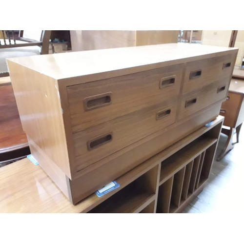 10 - A Danish teak chest of four low drawers, length 108cm....