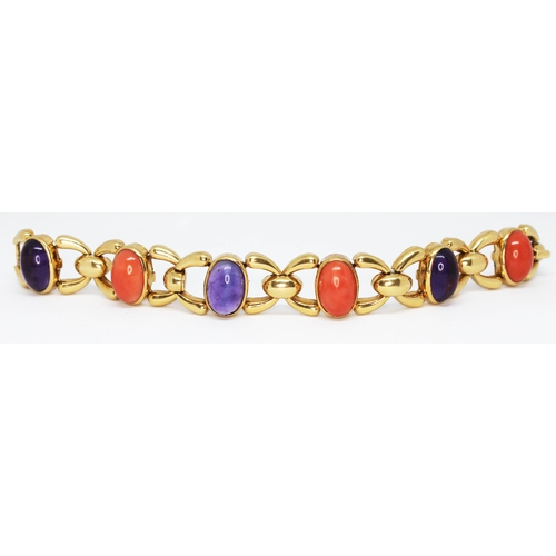 104 - CARTIER A vintage coral and amethyst cabochon bracelet crafted in 18ct yellow gold circa 1970s, each...