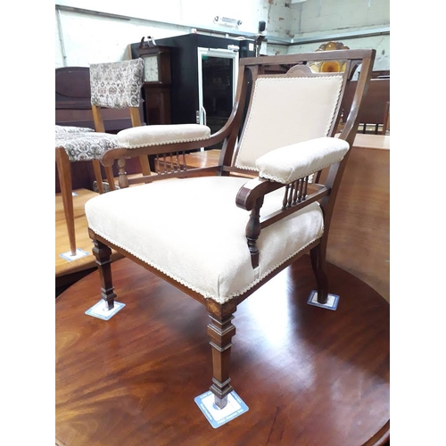 12 - A late Victorian/Edwardian inlaid armchair, width 60cm, depth 66cm & height 78cm....