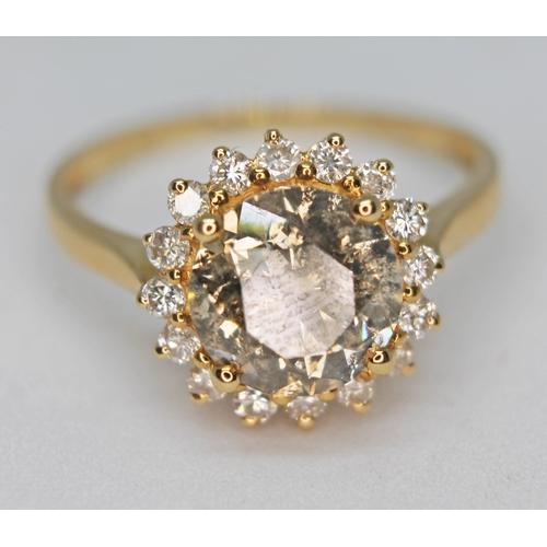 159 - A 14ct gold diamond cluster ring, the central round brilliant cut stone approx. 2.70ct, band marked ...