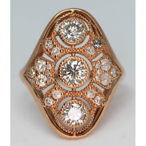 160 - A 14ct gold diamond cluster ring, total approx. diamond wt. 1ct, marked '14K', gross wt. 3.4g, size ...