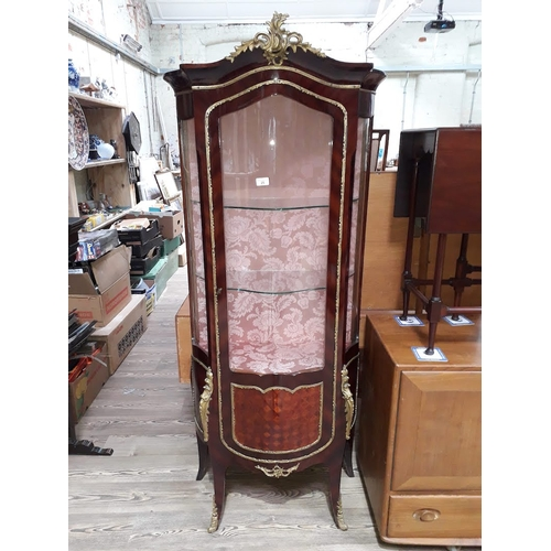 25 - A French gilt metal mounted display cabinet, width 75cm, depth 37cm & height 174cm....