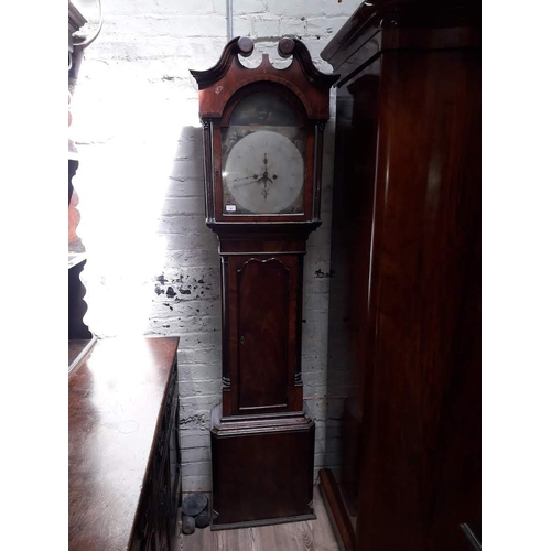 38 - A Georgian mahogany long case clock circa 1800 with broken swan neck pediment, arched hood with flut...