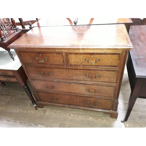 41 - A Georgian oak chest of drawers, 111cm, depth 55cm & height 98cm....