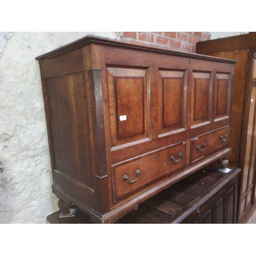 43 - An 18th century Lancashire oak mule chest, length 144cm....