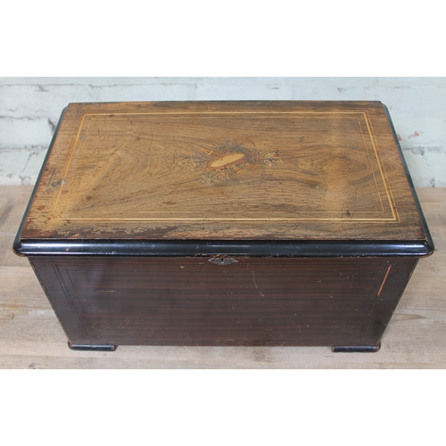 47 - A Swiss 10 airs drums and bells cylinder music box, case width 57cm....