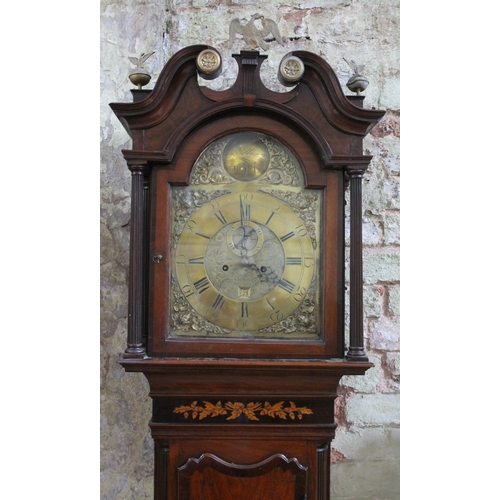 55 - An 18th century longcase clock, brass dial inscribed 'Jno Williamson Bold', width 31cm, eight day mo...