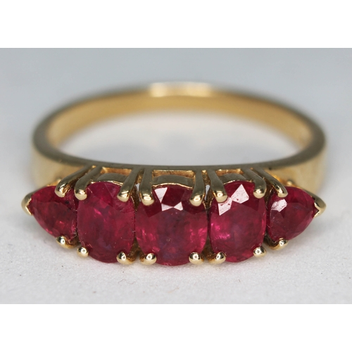 199 - A hallmarked 14ct gold five stone ruby ring,  gross wt. 4.3g, size S....