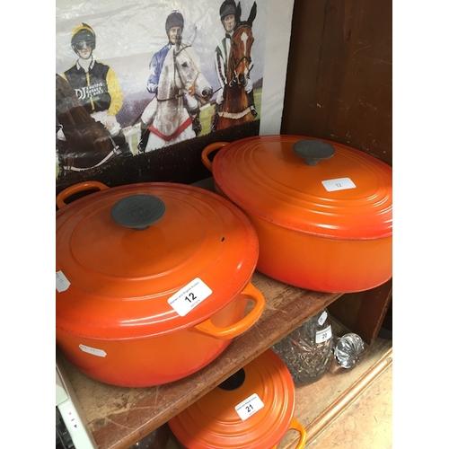 12 - 2 Le Creuset casserole dishes...