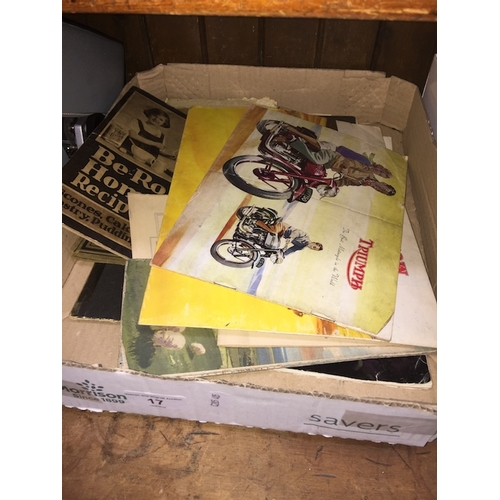 17 - A box of vintage advertising material incl Morris Minor, Triumph, M Cycles, etc...