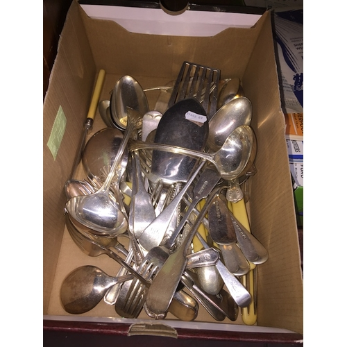 21 - A box of silver plated cutlery, etc....
