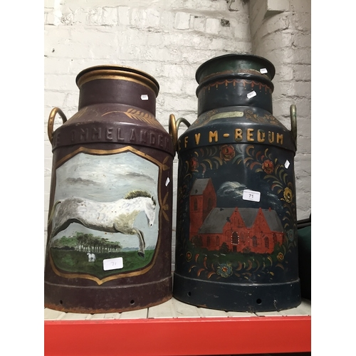 71 - 2 vintage milk churns, painted in Tyrol style - one possibly Dutch and other Austrian....