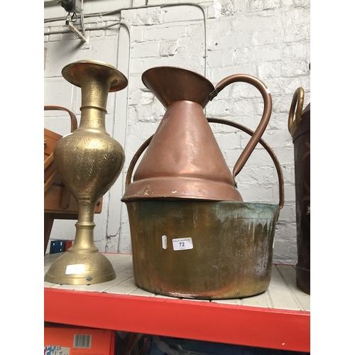 72 - A large brass jam pan, a large copper jug and a large brass Oriental style vase....