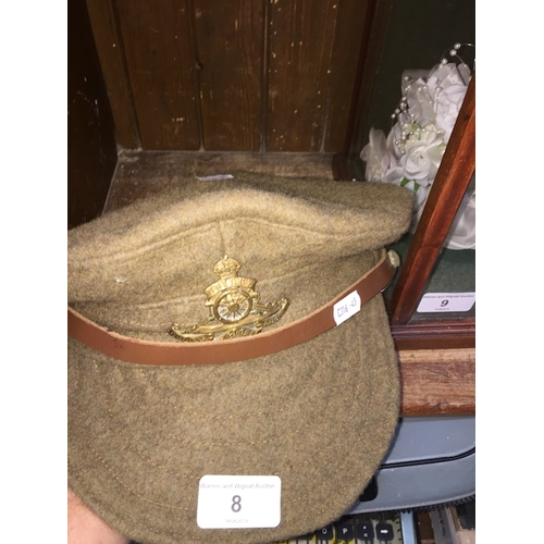 8 - An Army beret bearing WD 1915 mark on the inside....
