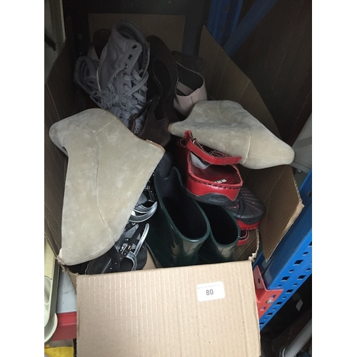 80 - A box with collection of ladies shoes to include Pierre Cardin, Koi Couture, wellies, etc....