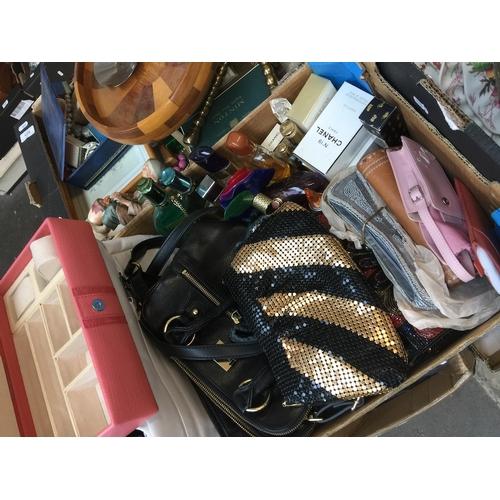 936 - A mixed box of handbags perfume incl Radley Chanel Opium...