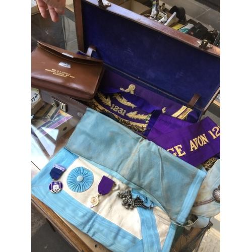 951 - Leather case of Masonic regalia...