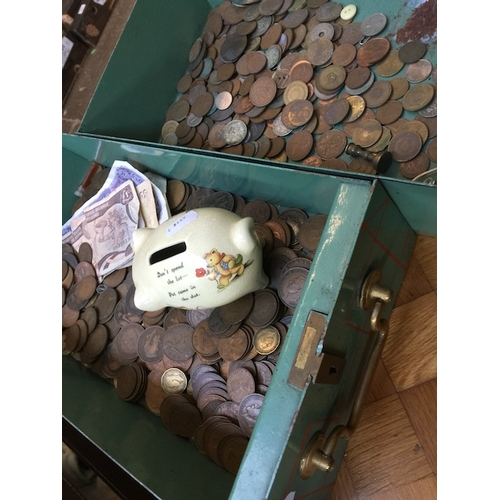 952 - Two meatl drawers of coins...