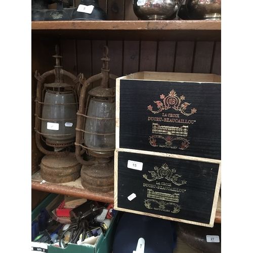 15 - 2 French wine boxes and a pair of oil lamps...