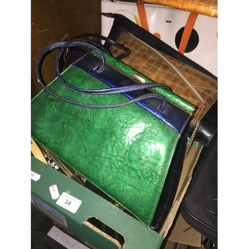 34 - Fashion interest - Collection of various vintage ladies handbags and purses to include leather and b...