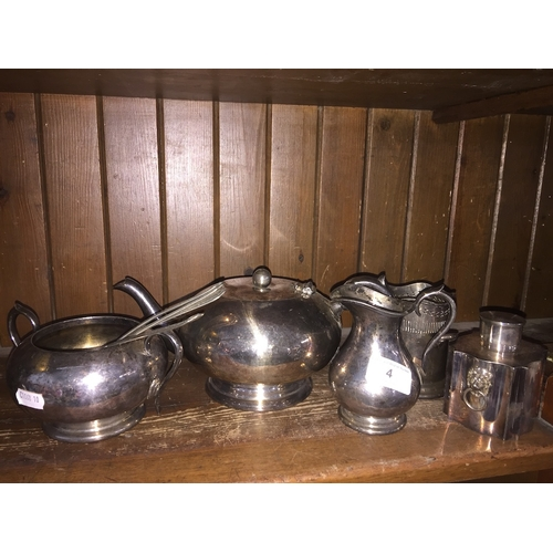 4 - A collection of silver plate including a tea caddy, teapot, cutlery etc....