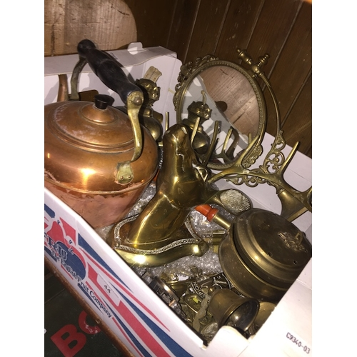 44 - A box of brass and copperware to include lamp, teapot, deer, mirror, etc....