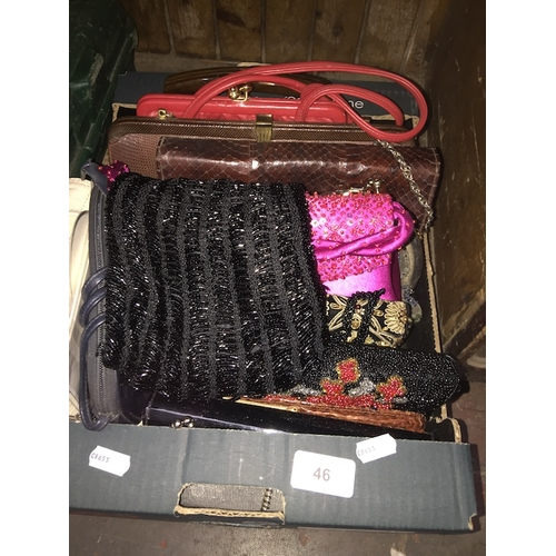 46 - A collection of various purses to include beaded, crocodile and lizard leather, etc....